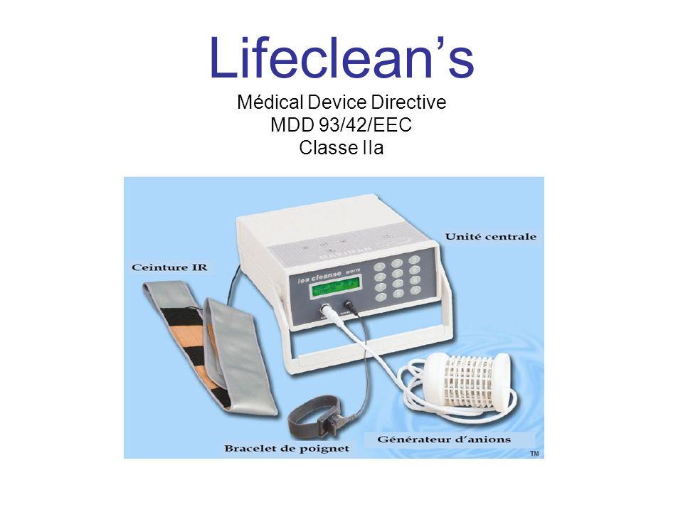 Lifecleans Médical Device Directive MDD 93/42/EEC Classe IIa