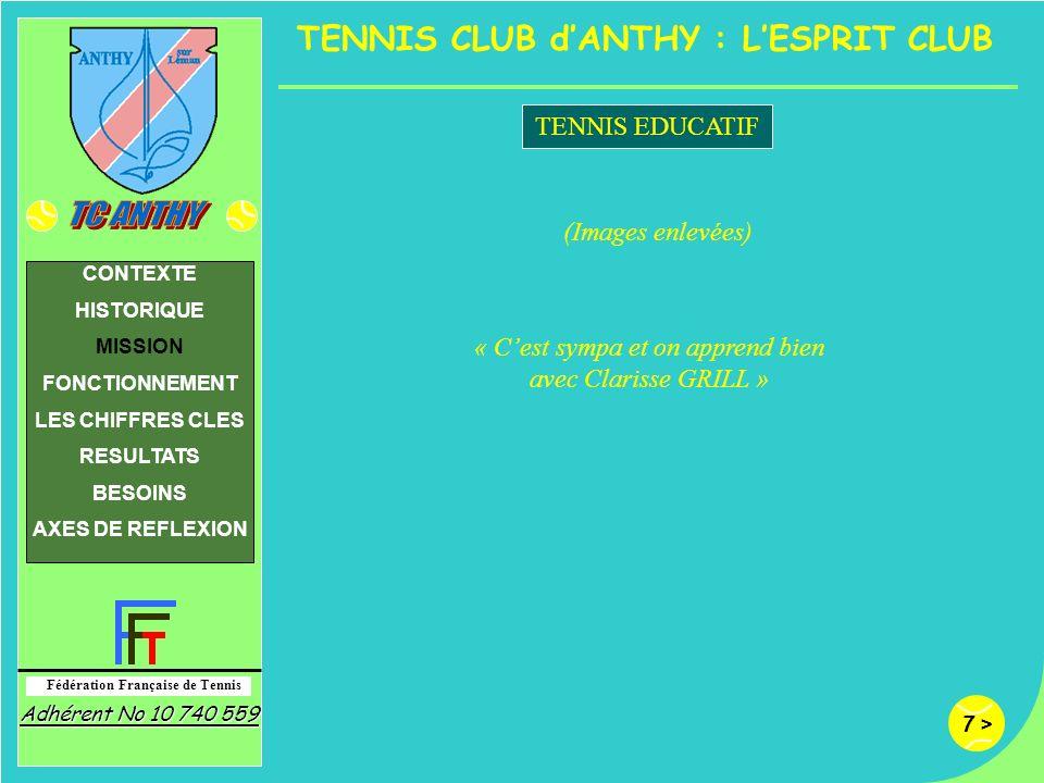 7 > Fédération Française de Tennis Adhérent No 10 740 559 CONTEXTE HISTORIQUE MISSION FONCTIONNEMENT LES CHIFFRES CLES RESULTATS BESOINS AXES DE REFLE