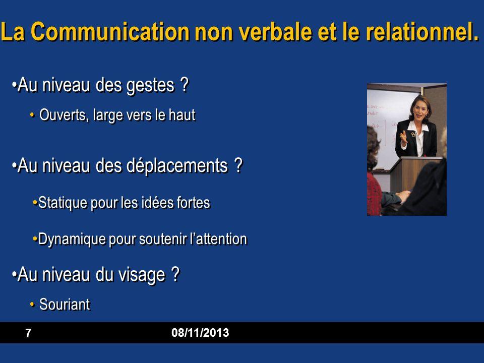 08/11/2013 7 La Communication non verbale et le relationnel. Au niveau des gestes ? Ouverts, large vers le haut Au niveau des déplacements ? Statique