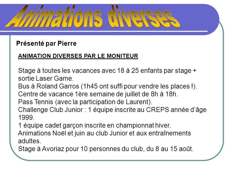 ANIMATION DIVERSES PAR LE MONITEUR Stage à toutes les vacances avec 18 à 25 enfants par stage + sortie Laser Game. Bus à Roland Garros (1h45 ont suffi