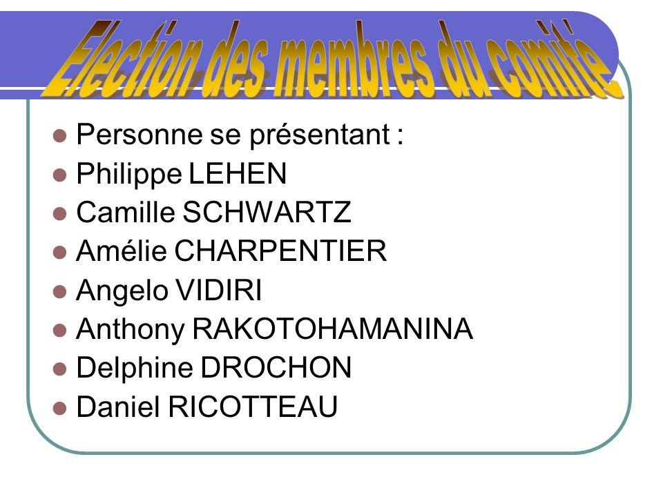 Personne se présentant : Philippe LEHEN Camille SCHWARTZ Amélie CHARPENTIER Angelo VIDIRI Anthony RAKOTOHAMANINA Delphine DROCHON Daniel RICOTTEAU