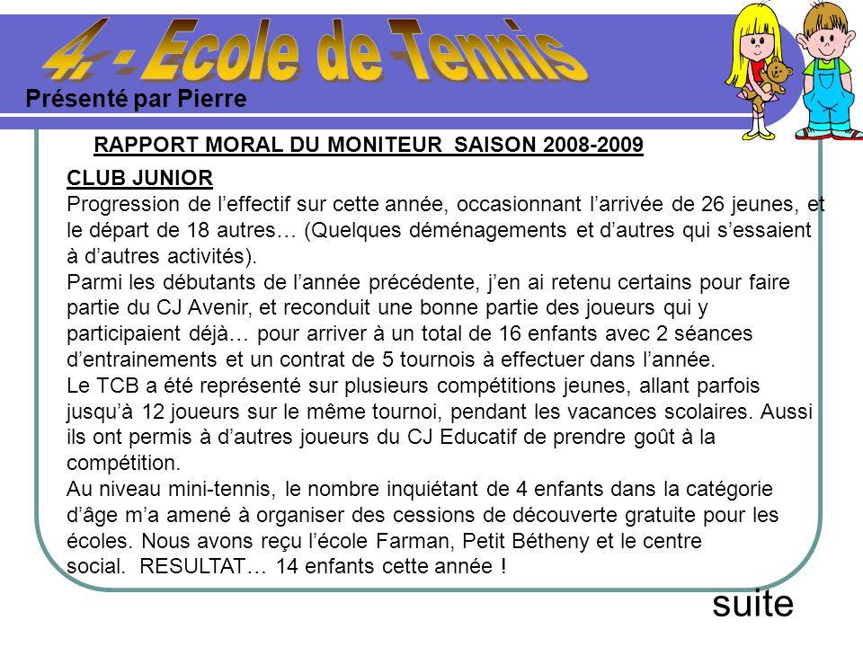 Présenté par Pierre suite RAPPORT MORAL DU MONITEUR SAISON 2008-2009 CLUB JUNIOR Progression de leffectif sur cette année, occasionnant larrivée de 26