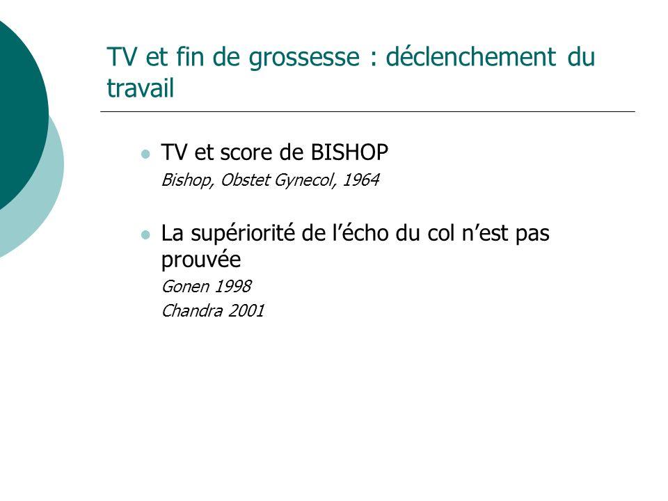 TV et fin de grossesse : déclenchement du travail TV et score de BISHOP Bishop, Obstet Gynecol, 1964 La supériorité de lécho du col nest pas prouvée Gonen 1998 Chandra 2001