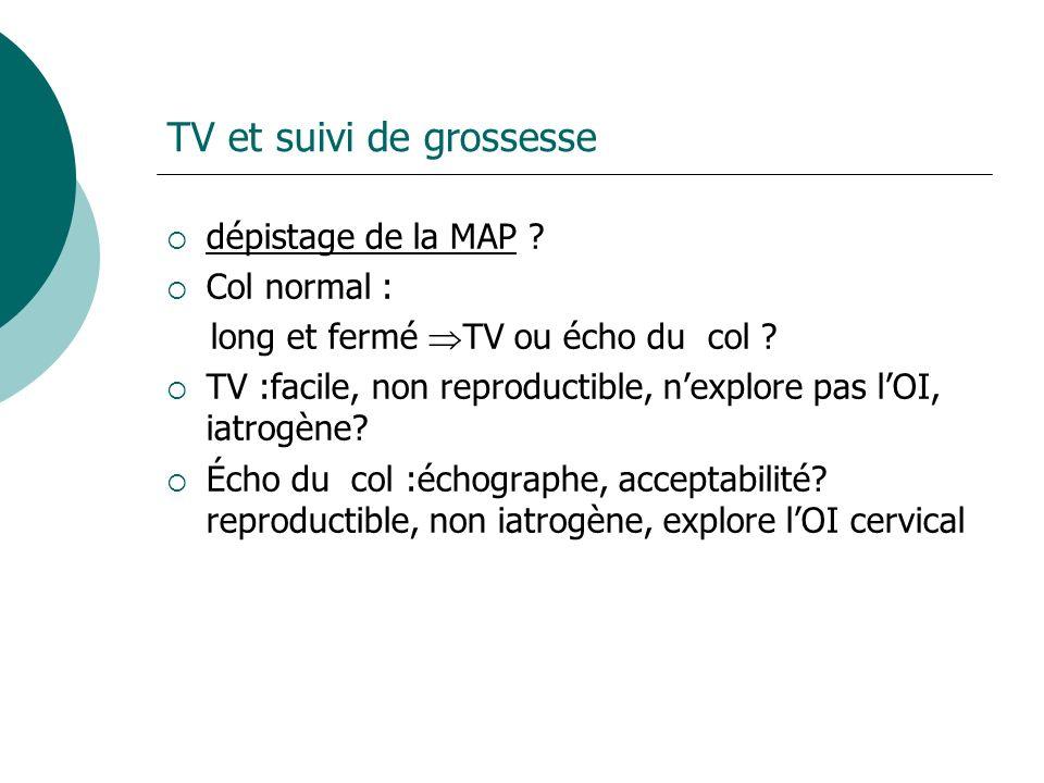 TV et suivi de grossesse dépistage de la MAP ? Col normal : long et fermé TV ou écho du col ? TV :facile, non reproductible, nexplore pas lOI, iatrogè