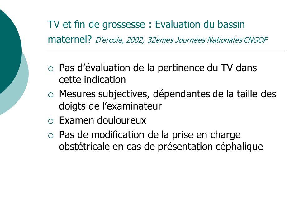 TV et fin de grossesse : Evaluation du bassin maternel? Dercole, 2002, 32èmes Journées Nationales CNGOF Pas dévaluation de la pertinence du TV dans ce