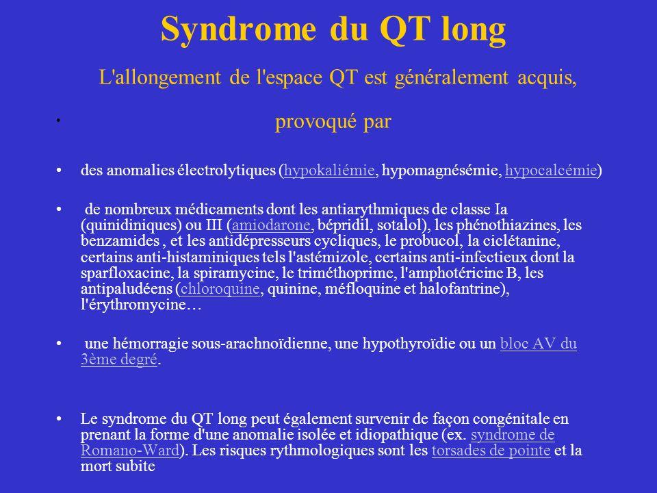 Syndrome du QT long L'allongement de l'espace QT est généralement acquis, provoqué par des anomalies électrolytiques (hypokaliémie, hypomagnésémie, hy