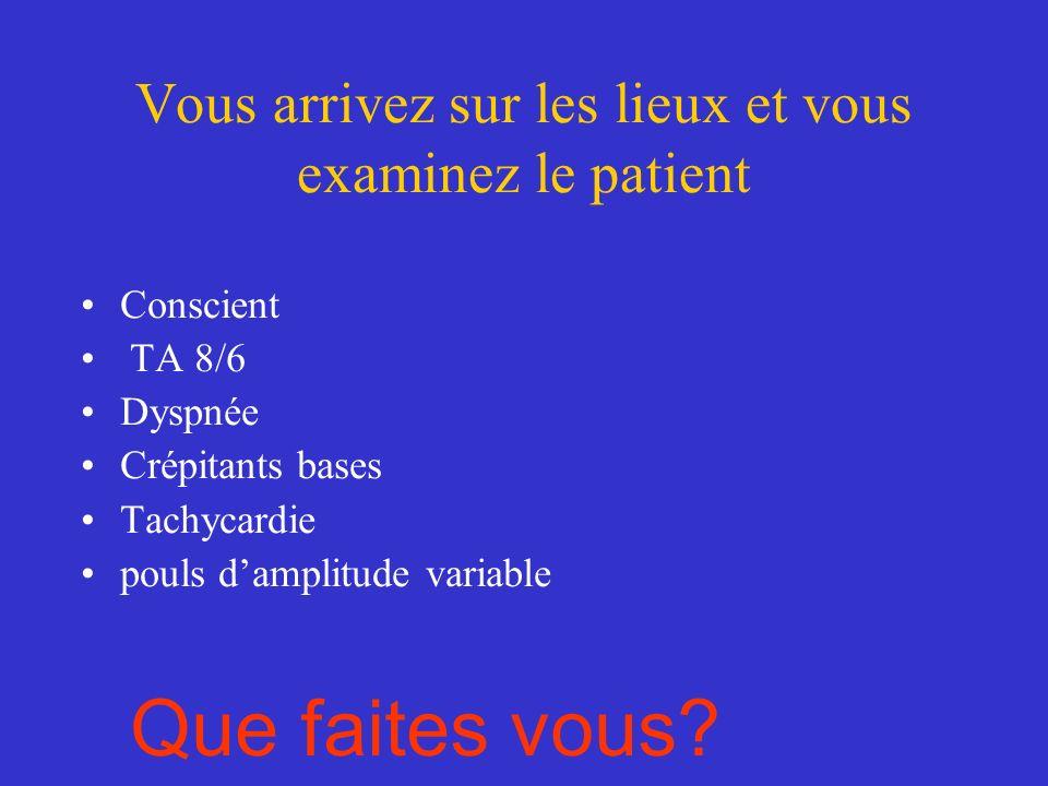 Vous arrivez sur les lieux et vous examinez le patient Conscient TA 8/6 Dyspnée Crépitants bases Tachycardie pouls damplitude variable Que faites vous