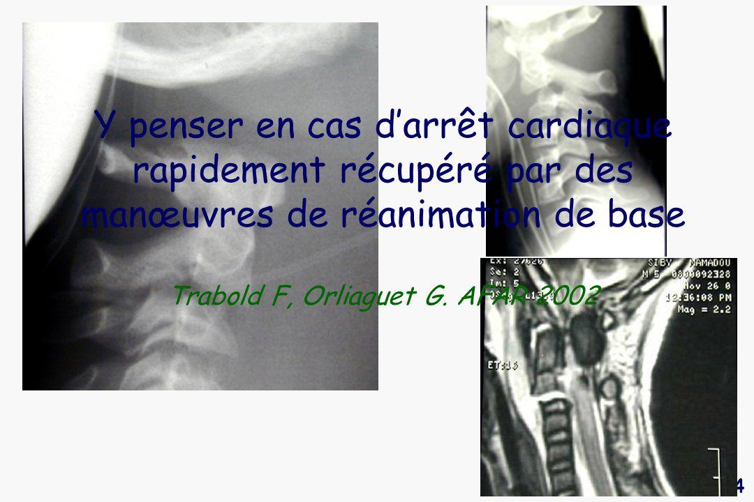 14 Y penser en cas darrêt cardiaque rapidement récupéré par des manœuvres de réanimation de base Trabold F, Orliaguet G. AFAR 2002