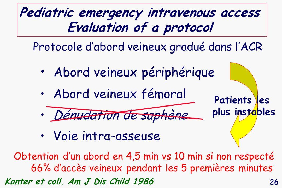 26 Pediatric emergency intravenous access Evaluation of a protocol Abord veineux périphérique Abord veineux fémoral Dénudation de saphène Voie intra-o