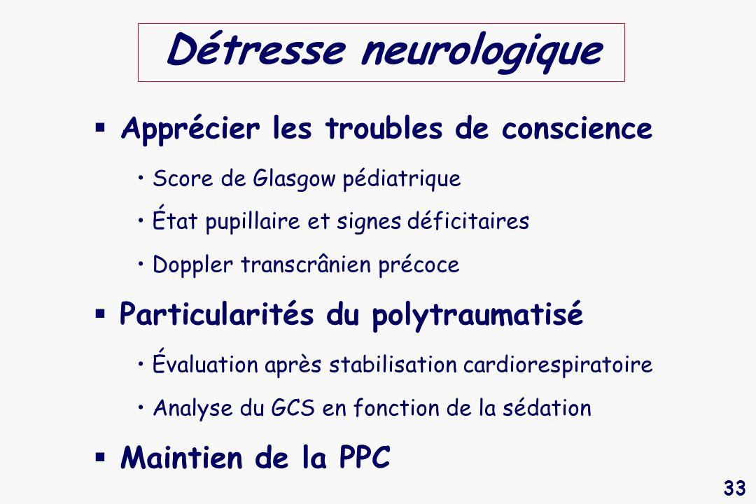 33 Détresse neurologique Apprécier les troubles de conscience Score de Glasgow pédiatrique État pupillaire et signes déficitaires Doppler transcrânien