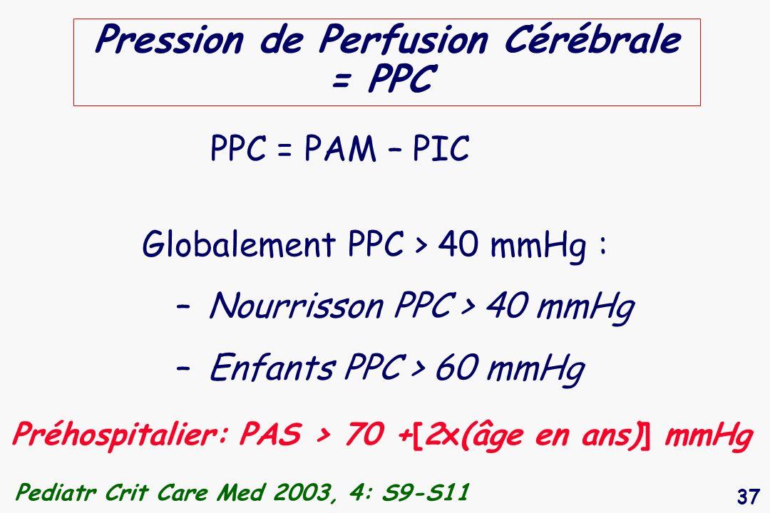 37 Pression de Perfusion Cérébrale = PPC PPC = PAM – PIC Globalement PPC > 40 mmHg : – Nourrisson PPC > 40 mmHg – Enfants PPC > 60 mmHg Pediatr Crit C