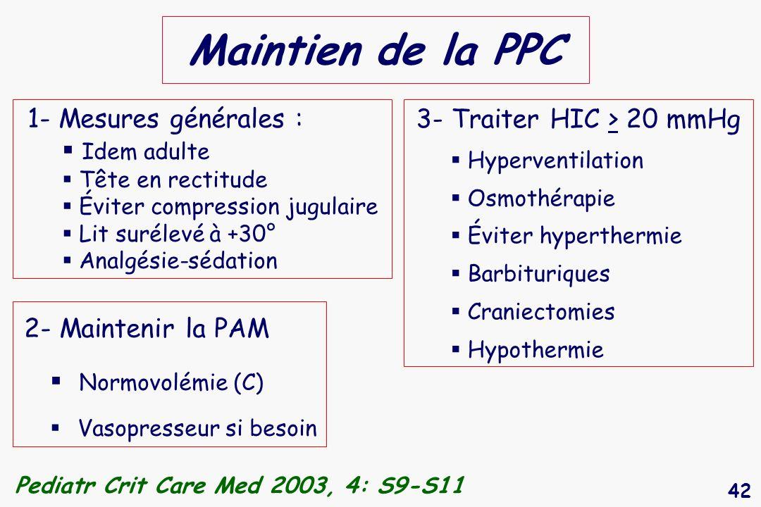 42 Maintien de la PPC 2- Maintenir la PAM Normovolémie (C) Vasopresseur si besoin Pediatr Crit Care Med 2003, 4: S9-S11 3- Traiter HIC > 20 mmHg Hyper