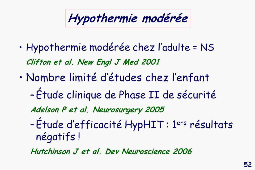 52 Hypothermie modérée H ypothermie modérée chez l adulte = NS Clifton et al. New Engl J Med 2001 Nombre limité détudes chez lenfant –Étude clinique d