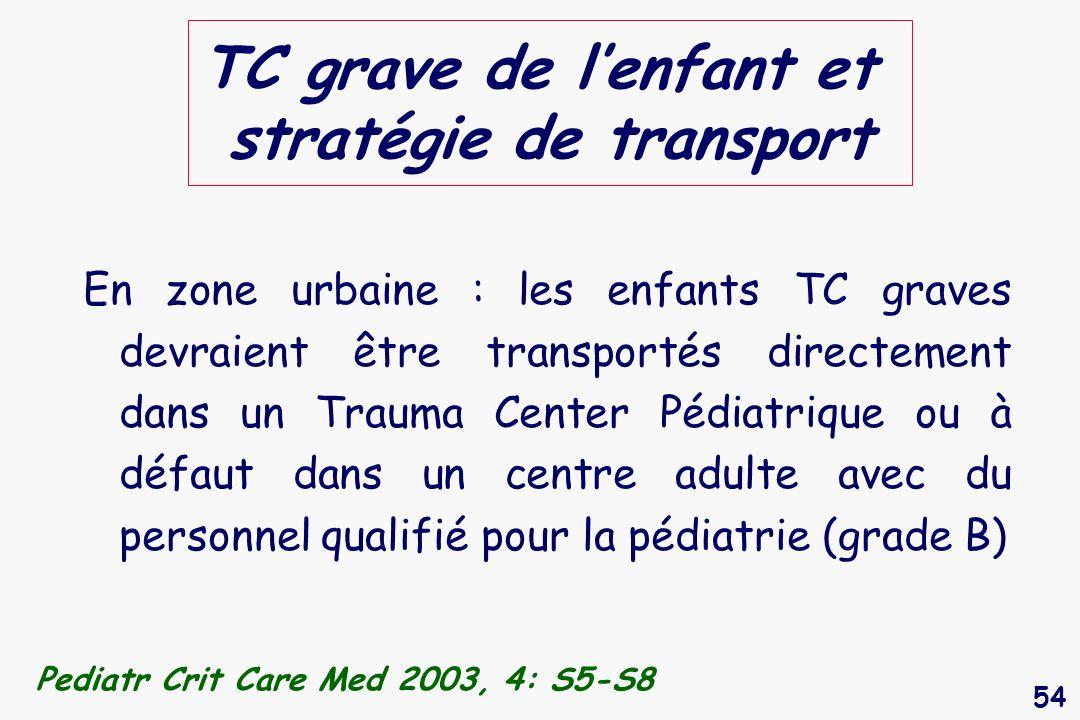 54 TC grave de lenfant et stratégie de transport En zone urbaine : les enfants TC graves devraient être transportés directement dans un Trauma Center
