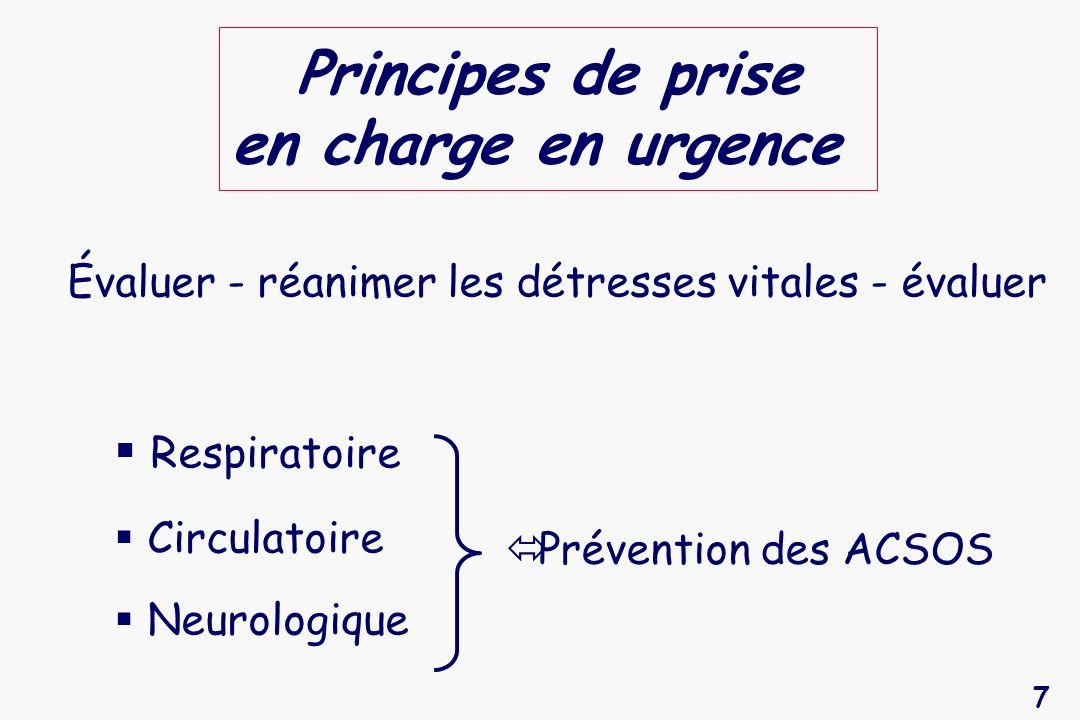 7 Principes de prise en charge en urgence Évaluer - réanimer les détresses vitales - évaluer Respiratoire Circulatoire Neurologique Prévention des ACS
