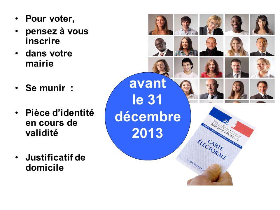 Pour voter, pensez à vous inscrire dans votre mairie Se munir : Pièce didentité en cours de validité Justificatif de domicile avant le 31 décembre 2013