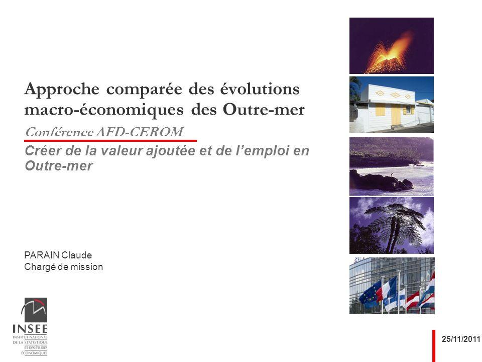PARAIN Claude Chargé de mission 25/11/2011 Approche comparée des évolutions macro-économiques des Outre-mer Conférence AFD-CEROM Créer de la valeur ajoutée et de lemploi en Outre-mer
