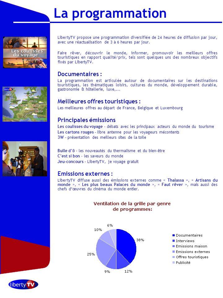Octobre 2006 La programmation LibertyTV propose une programmation diversifiée de 24 heures de diffusion par jour, avec une réactualisation de 3 à 6 he