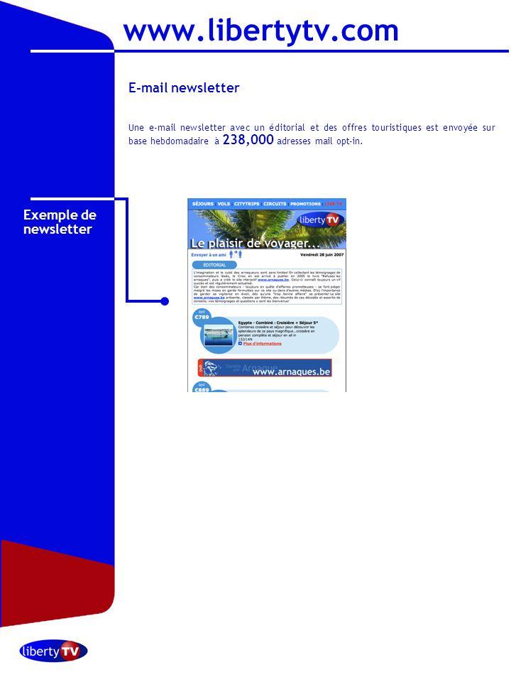 Octobre 2006 E-mail newsletter Une e-mail newsletter avec un éditorial et des offres touristiques est envoyée sur base hebdomadaire à 238,000 adresses