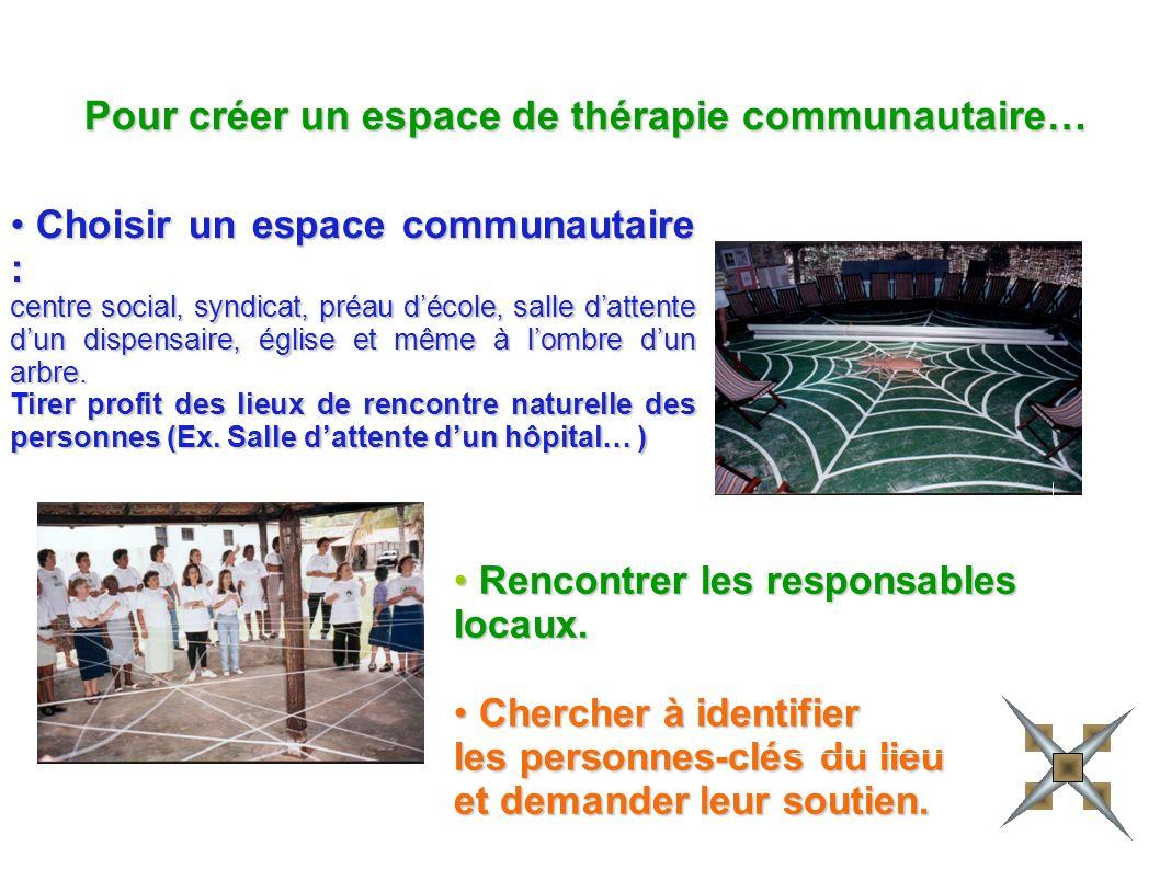 Choisir un espace communautaire : centre social, syndicat, préau décole, salle dattente dun dispensaire, église et même à lombre dun arbre.