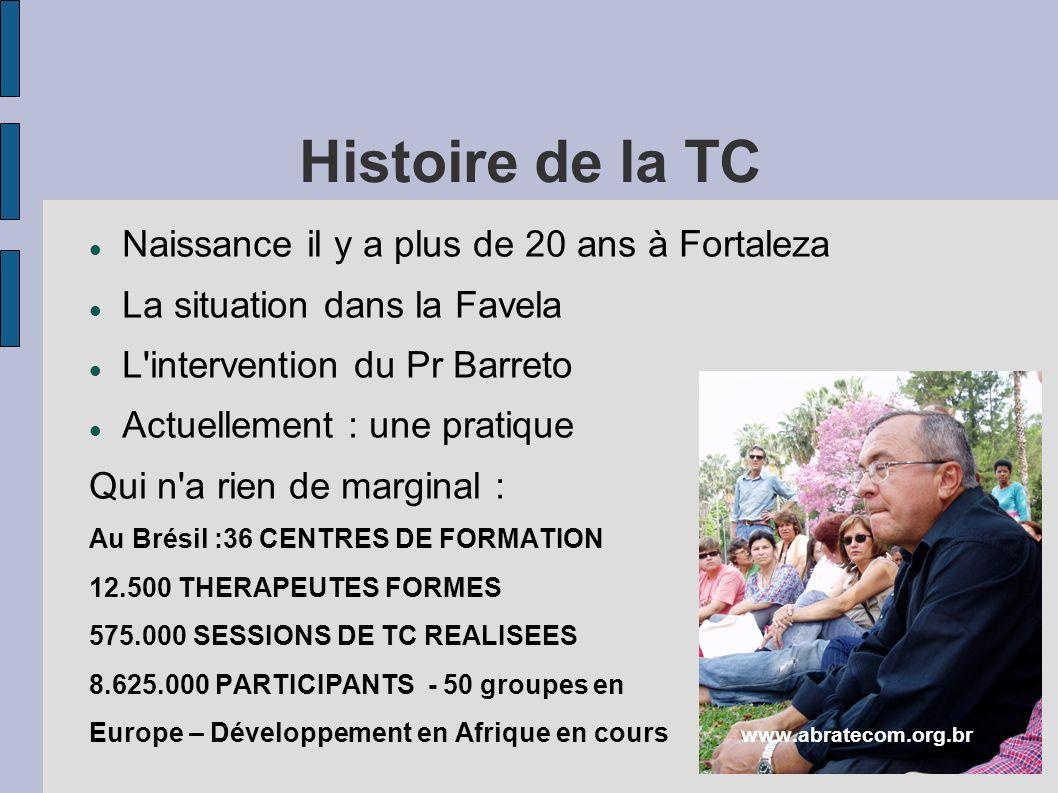 Histoire de la TC Naissance il y a plus de 20 ans à Fortaleza La situation dans la Favela L intervention du Pr Barreto Actuellement : une pratique Qui n a rien de marginal : Au Brésil :36 CENTRES DE FORMATION 12.500 THERAPEUTES FORMES 575.000 SESSIONS DE TC REALISEES 8.625.000 PARTICIPANTS - 50 groupes en Europe – Développement en Afrique en cours www.abratecom.org.br