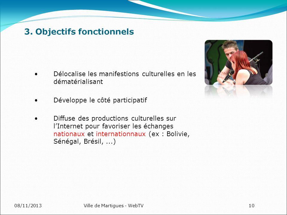 08/11/2013Ville de Martigues - WebTV10 Délocalise les manifestions culturelles en les dématérialisant Développe le côté participatif Diffuse des productions culturelles sur lInternet pour favoriser les échanges nationaux et internationnaux (ex : Bolivie, Sénégal, Brésil,...)