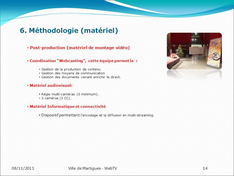 08/11/2013Ville de Martigues - WebTV14 Post-production (matériel de montage vidéo) Coordination Webcasting, cette équipe permet la : Gestion de la production de contenu Gestion des moyens de communication Gestion des documents venant enrichir le direct.