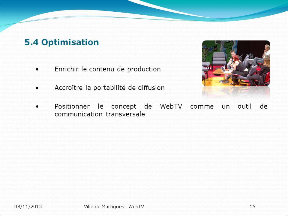 08/11/2013Ville de Martigues - WebTV15 Enrichir le contenu de production Accroître la portabilité de diffusion Positionner le concept de WebTV comme u