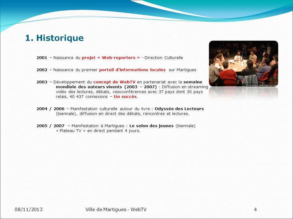 08/11/2013Ville de Martigues - WebTV4 2001 – Naissance du projet « Web-reporters » - Direction Culturelle 2002 – Naissance du premier portail dinforma