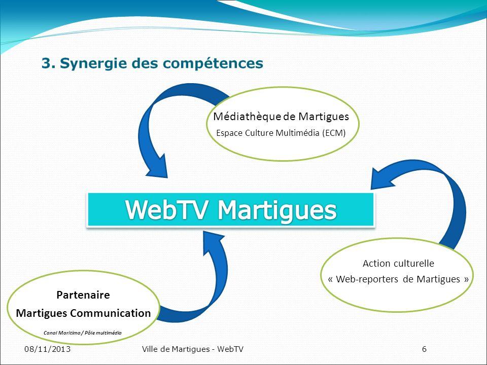 08/11/2013Ville de Martigues - WebTV6 Médiathèque de Martigues Espace Culture Multimédia (ECM) Action culturelle « Web-reporters de Martigues » Partenaire Martigues Communication Canal Maritima / Pôle multimédia