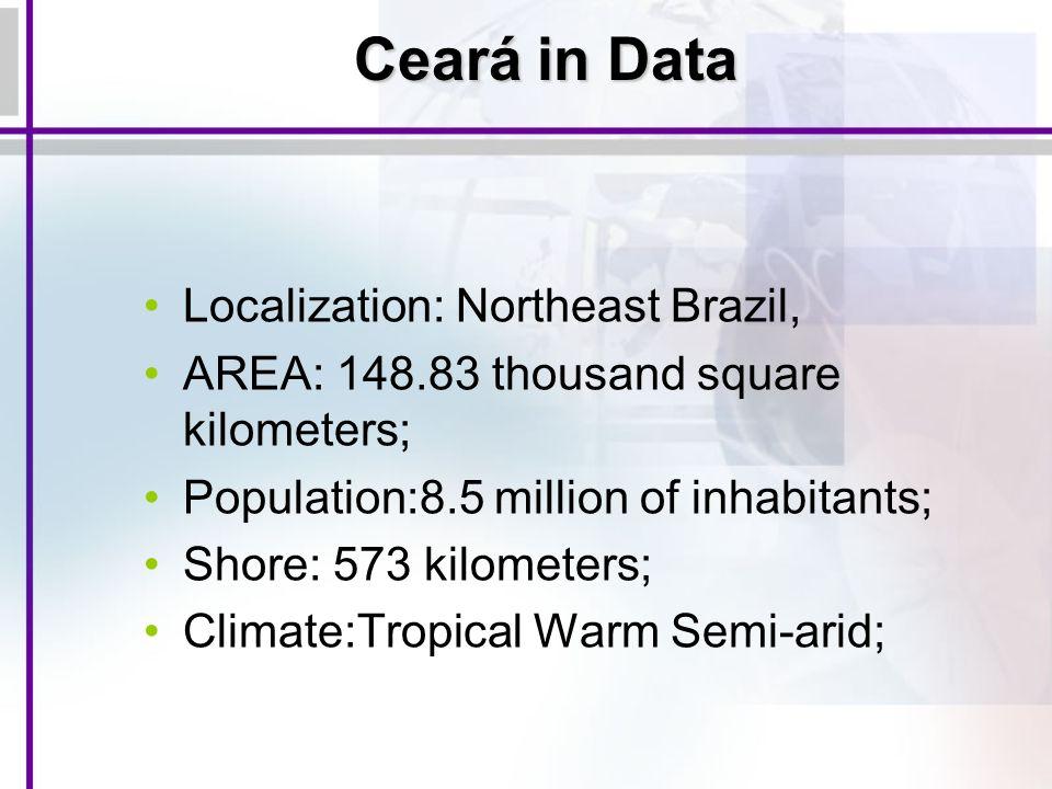 Ceará in Data Localization: Northeast Brazil, AREA: 148.83 thousand square kilometers; Population:8.5 million of inhabitants; Shore: 573 kilometers; C