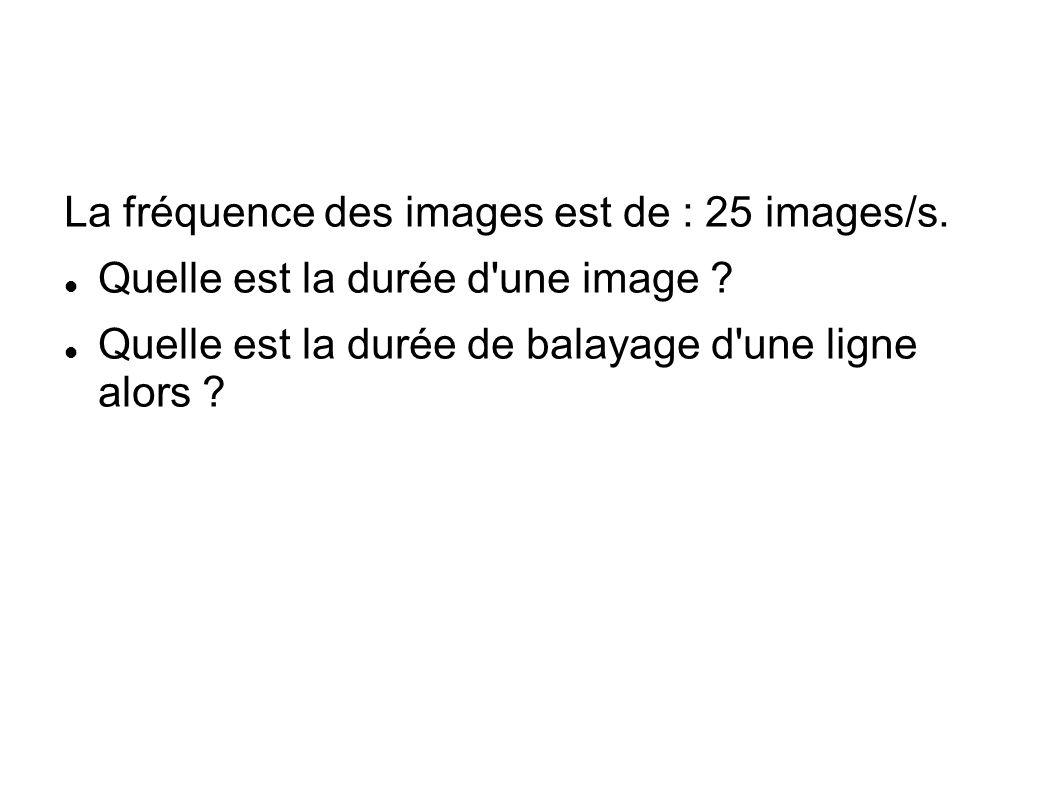 La fréquence des images est de : 25 images/s.Quelle est la durée d une image .