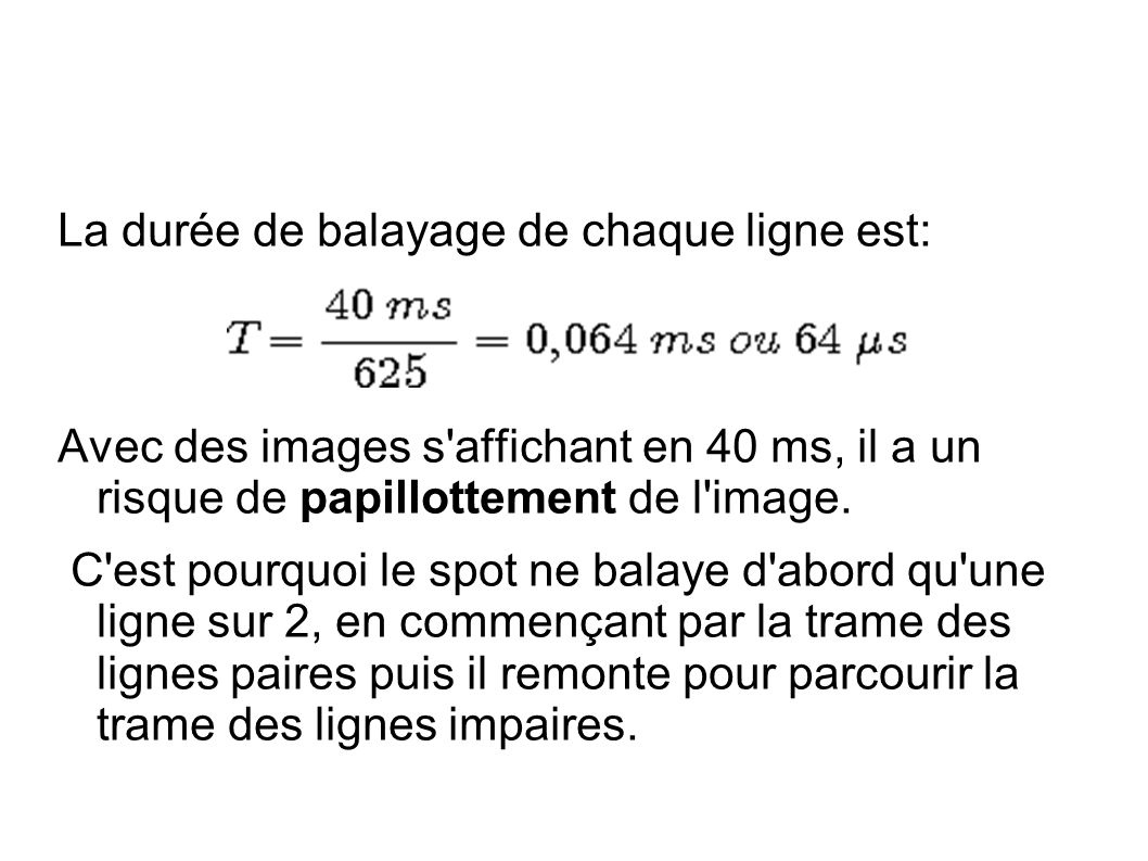 La durée de balayage de chaque ligne est: Avec des images s affichant en 40 ms, il a un risque de papillottement de l image.