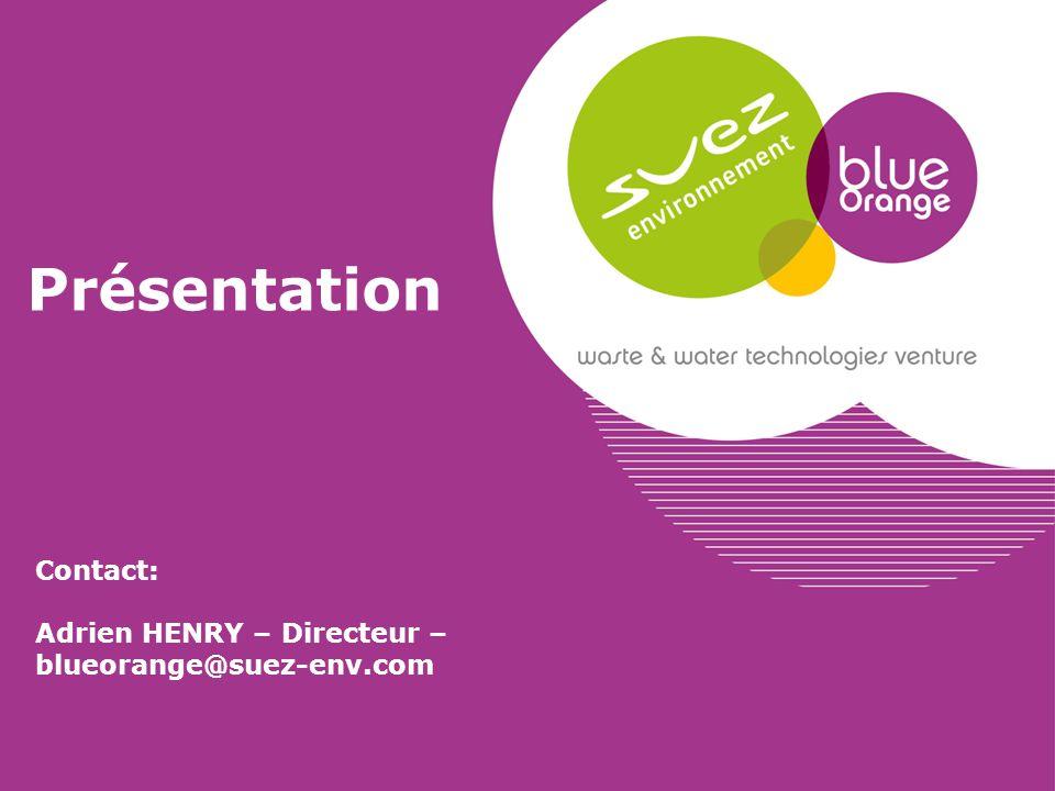 Présentation Contact: Adrien HENRY – Directeur – blueorange@suez-env.com