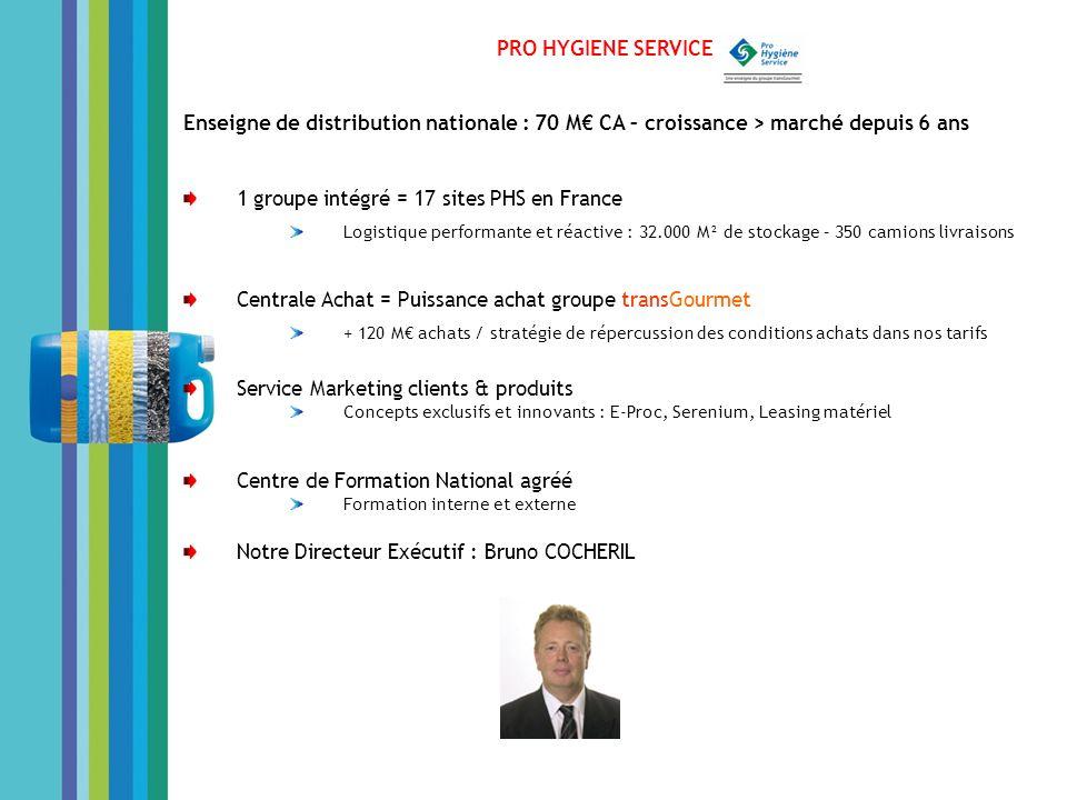 PRO HYGIENE SERVICE Enseigne de distribution nationale : 70 M CA – croissance > marché depuis 6 ans 1 groupe intégré = 17 sites PHS en France Logistiq