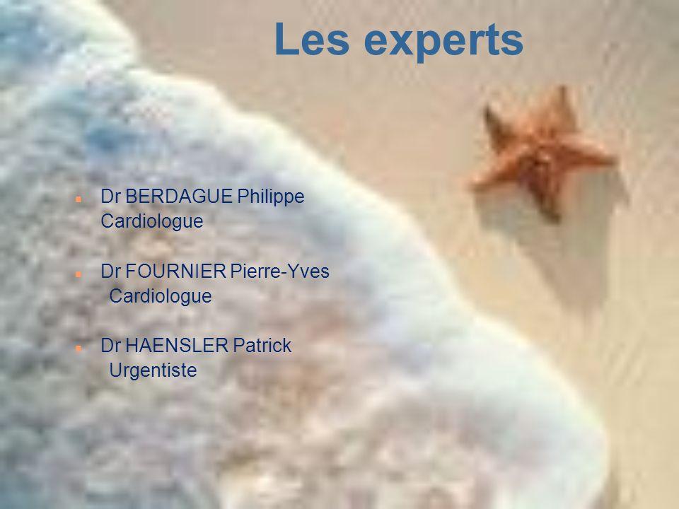 Les experts n Dr BERDAGUE Philippe Cardiologue n Dr FOURNIER Pierre-Yves Cardiologue n Dr HAENSLER Patrick Urgentiste