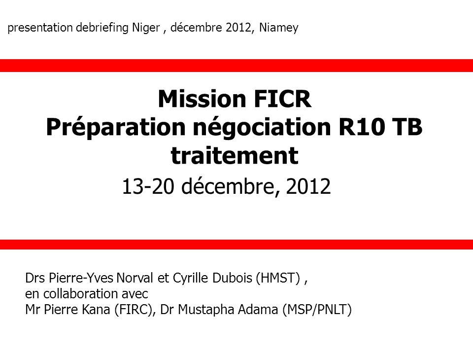 Mission FICR Préparation négociation R10 TB traitement 13-20 décembre, 2012 Drs Pierre-Yves Norval et Cyrille Dubois (HMST), en collaboration avec Mr