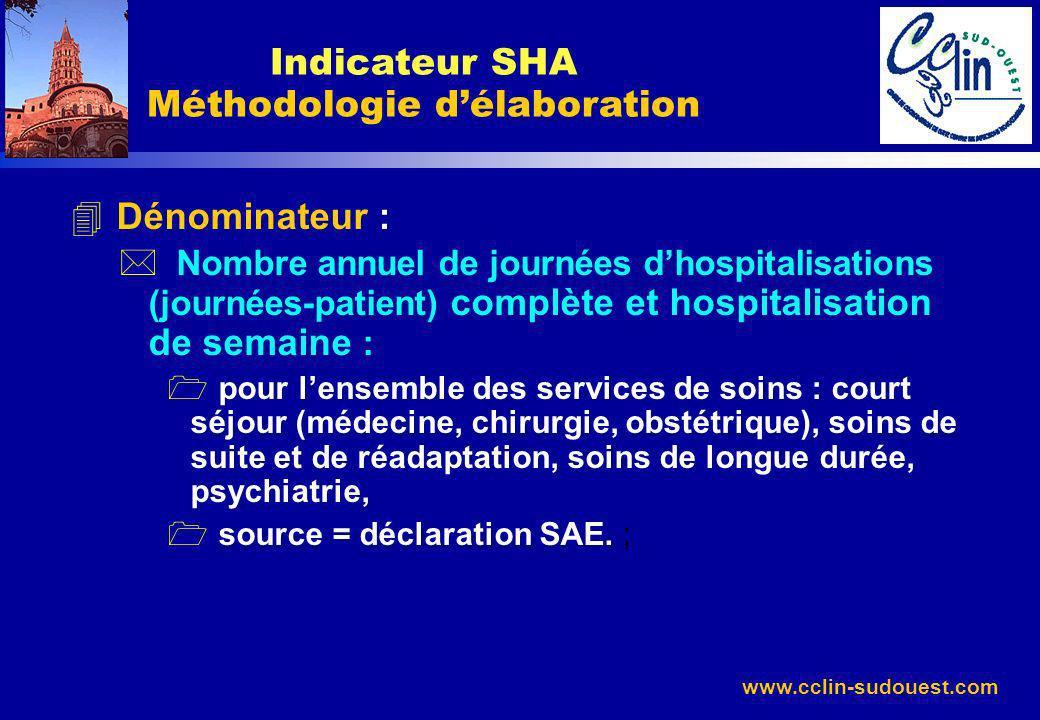 www.cclin-sudouest.com 4 Dénominateur : * Nombre annuel de journées dhospitalisations (journées-patient) complète et hospitalisation de semaine : 1 po