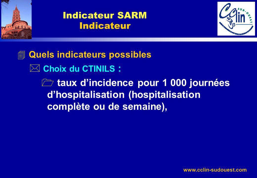 www.cclin-sudouest.com 4 Quels indicateurs possibles * Choix du CTINILS : 1 taux dincidence pour 1 000 journées dhospitalisation (hospitalisation comp