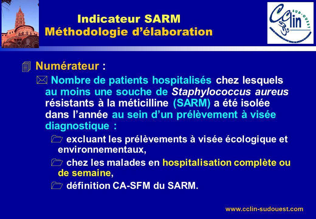 www.cclin-sudouest.com 4 Numérateur : * Nombre de patients hospitalisés chez lesquels au moins une souche de Staphylococcus aureus résistants à la mét