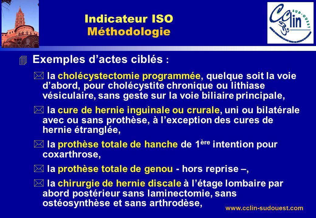 www.cclin-sudouest.com 4 Exemples dactes ciblés : * la cholécystectomie programmée, quelque soit la voie dabord, pour cholécystite chronique ou lithia