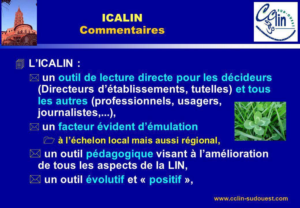 www.cclin-sudouest.com 4 LICALIN : * un outil de lecture directe pour les décideurs (Directeurs détablissements, tutelles) et tous les autres (profess