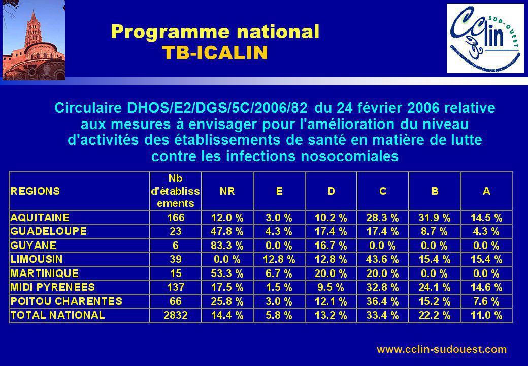 www.cclin-sudouest.com Programme national TB-ICALIN Circulaire DHOS/E2/DGS/5C/2006/82 du 24 février 2006 relative aux mesures à envisager pour l'améli