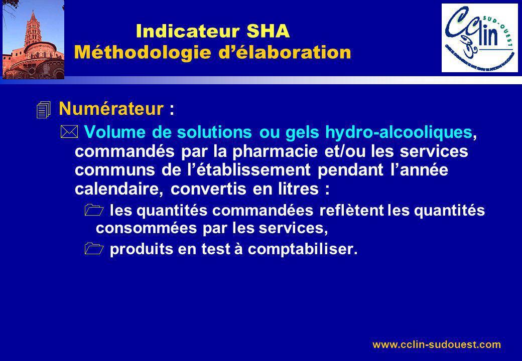 www.cclin-sudouest.com 4 Numérateur : * Volume de solutions ou gels hydro-alcooliques, commandés par la pharmacie et/ou les services communs de létabl