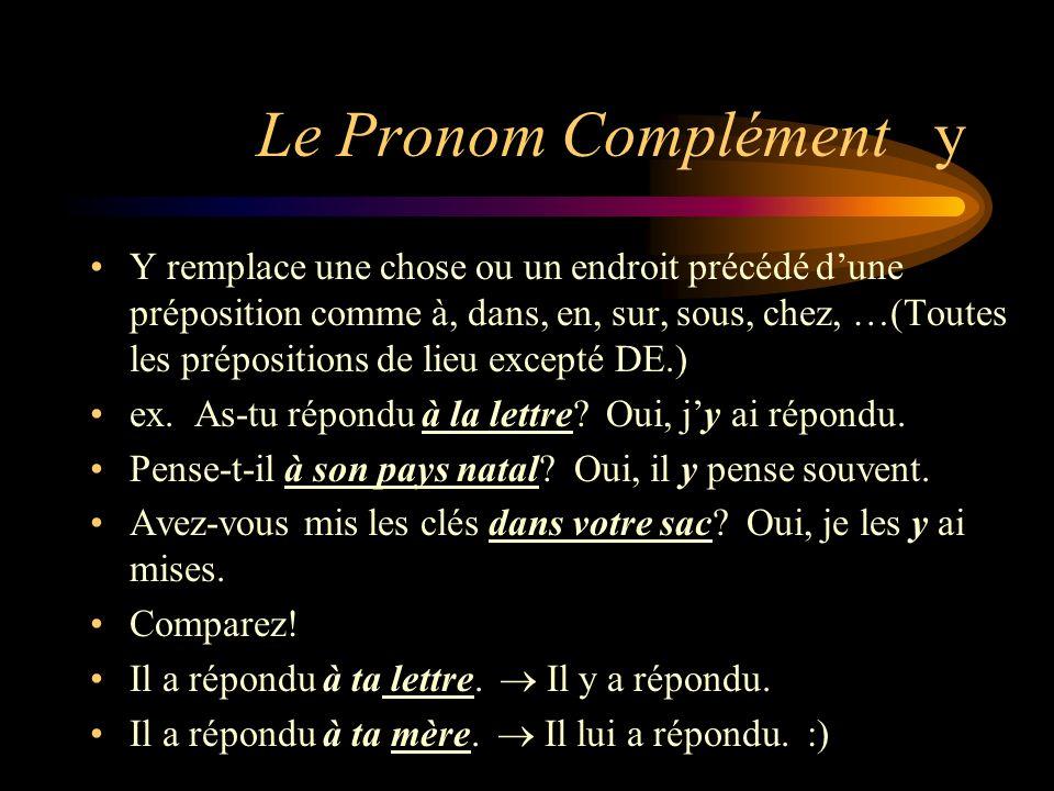 Le Pronom Complément EN A) Le pronom EN remplace un article partitif (un, une, des, de, d) et un nom.