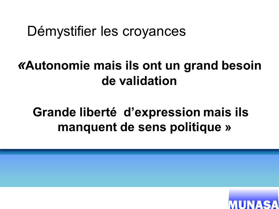 10 Démystifier les croyances « Autonomie mais ils ont un grand besoin de validation Grande liberté dexpression mais ils manquent de sens politique »