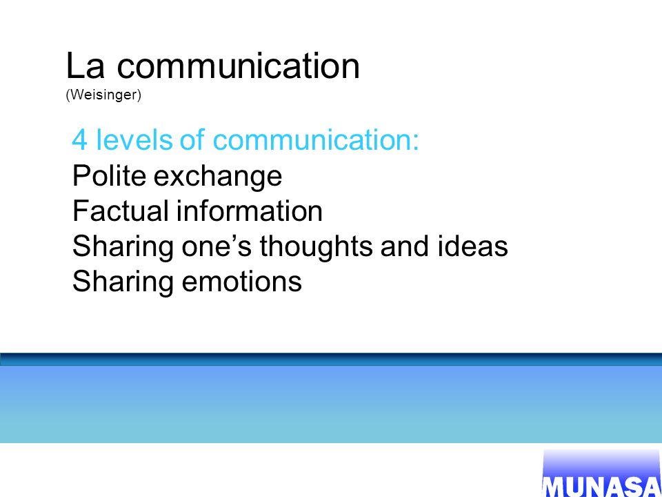 16 La communication (Weisinger) 4 levels of communication: Polite exchange Factual information Sharing ones thoughts and ideas Sharing emotions