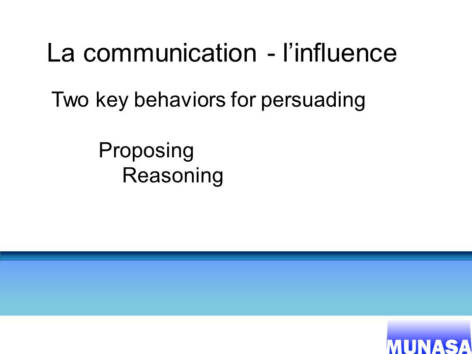21 La communication - linfluence Two key behaviors for persuading Proposing Reasoning