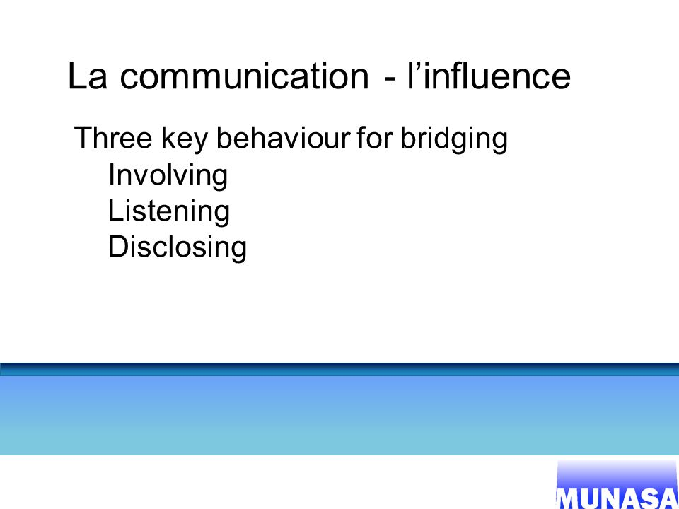 22 La communication - linfluence Three key behaviour for bridging Involving Listening Disclosing