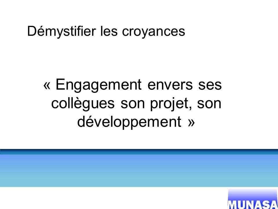 4 Démystifier les croyances « Engagement envers ses collègues son projet, son développement »